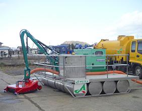 浚渫用アタッチメント搭載 組立式台船